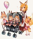 6+girls :3 afterimage animal_ear_fluff animal_ears backless_outfit balloon basilisk_time bell blonde_hair blue_eyes child commentary crossover doitsuken eyebrows_visible_through_hair fang fang_out flailing fox_ears fox_tail hair_bobbles hair_ornament japanese_clothes jingle_bell kemomimi_oukoku_kokuei_housou long_hair miko mikoko_(kemomimi_oukoku_kokuei_housou) multiple_girls multiple_persona orange_hair pacifier petting ponytail red_skirt senko_(sewayaki_kitsune_no_senko-san) sewayaki_kitsune_no_senko-san short_hair simple_background skirt smile stroller tail toddler twintails virtual_youtuber white_background yellow_eyes younger