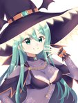 1girl :q bangs black_bra black_cape black_hat blush bodysuit bra breasts cape chain closed_mouth commentary_request date_a_live eyebrows_visible_through_hair fingernails green_eyes green_hair hair_between_eyes hand_up hat highres light_(luxiao_deng) long_hair long_sleeves medium_breasts natsumi_(date_a_live) purple_bodysuit smile solo star star_print tongue tongue_out underwear upper_body very_long_hair witch_hat wrist_cuffs