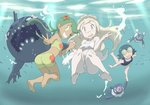 3girls :d ;) ass bare_arms bare_legs barefoot bikini bikini_shorts blonde_hair blue_hair blush brionne feet freediving full_body green_eyes green_hair grin hair_ornament highres holding_hands interlocked_fingers knees_up lillie_(pokemon) long_hair looking_at_viewer mao_(pokemon) multiple_girls nomura_(buroriidesu) ocean one-piece_swimsuit one_eye_closed open_mouth pale_skin pokemon pokemon_(anime) pokemon_(creature) pokemon_sm_(anime) popplio revision shorts smile soles staryu suiren_(pokemon) swimming swimsuit trial_captain twintails underwater v wishiwashi