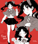 1girl bad_id bad_pixiv_id black_hair blush bow capelet casual child closed_eyes compass copyright_name fate/zero fate_(series) flower hair_ribbon long_hair monochrome ribbon skirt smile solo tears toosaka_rin twintails younger yuuki_(moon_child)