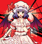 15_(tooka) 1girl :d bat bat_wings bow finger_to_mouth hat hat_bow lavender_hair open_mouth petals red_eyes remilia_scarlet sash smile solo touhou wings wrist_cuffs