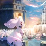 b_spa_gyoreva blue_sky building cloud goodra goomy highres no_humans pokemon pokemon_(game) pokemon_xy sky sliggoo water waterfall