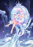 1girl :d armpits artist_name atdan bare_arms bare_legs bare_shoulders blue_eyes blue_hair bracelet breasts commentary crossed_legs dress haiyi hat high_heels highres holding jellyfish jewelry large_breasts long_hair looking_at_viewer open_mouth sitting sleeveless sleeveless_dress smile solo star synthesizer_v water white_dress