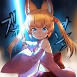 1girl :3 animal_ear_fluff animal_ears blue_eyes breasts commentary detached_sleeves energy_sword food food_request fox_ears guchico hair_ornament hairclip kemomimi_oukoku_kokuei_housou lightsaber long_hair looking_at_viewer mikoko_(kemomimi_oukoku_kokuei_housou) orange_hair pocky small_breasts solo star_wars sword twintails virtual_youtuber weapon wide_sleeves