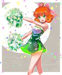 1girl :d ahoge bare_arms bare_shoulders blush bow cheerleader confetti cropped_legs curly_hair dress eyebrows_visible_through_hair freckles green_dress green_eyes hair_bow highres holding iesupa looking_at_viewer open_mouth orange_hair outdoors penny_polendina pink_bow pom_poms rwby shiny shiny_hair short_hair smile solo standing tareme thighs two-tone_background