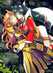 ahri animal_ears armor black_hair blood blue_eyes bodysuit breasts fox_ears green_eyes injury korean_clothes large_breasts league_of_legends leona_(league_of_legends) orange_hair tagme tail