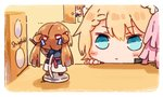 2girls blonde_hair blue_eyes character_name chibi commentary door english_text g36_(girls_frontline) girls_frontline gun m1903_springfield m1903_springfield_(girls_frontline) maid maid_headdress multiple_girls nendoroid room shuzi staring weapon