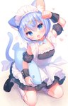 1girl :d animal_ear_fluff animal_ears apron arm_up bangs black_dress black_footwear black_sleeves blue_eyes blue_hair blue_neckwear blush bow bowtie breasts cat_day cat_ears cat_girl cat_tail collar commentary_request detached_collar detached_sleeves dress eyebrows_visible_through_hair fang fish_hair_ornament hair_between_eyes hair_ornament head_tilt heart highres kneehighs kneeling loafers onka open_mouth original puffy_short_sleeves puffy_sleeves shoes short_sleeves sleeveless sleeveless_dress small_breasts smile solo tail tile_floor tiles usashiro_mani white_apron white_collar white_legwear