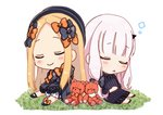 2girls :o abigail_williams_(fate/grand_order) bangs black_bow black_dress black_footwear black_headwear blonde_hair bloomers blue_eyes bow bug butterfly closed_eyes closed_mouth commentary_request damaged dress fate/grand_order fate_(series) forehead hair_bow hat highres horn insect lavinia_whateley_(fate/grand_order) long_hair long_sleeves multiple_girls orange_bow parted_bangs parted_lips polka_dot polka_dot_bow shoes sitting sleeping sleeves_past_fingers sleeves_past_wrists smile sofra stuffed_animal stuffed_toy teddy_bear underwear very_long_hair white_bloomers white_hair