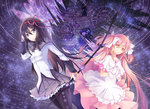 2girls akemi_homura bad_id bad_pixiv_id black_hair black_legwear bow_(weapon) collarbone dress hair_between_eyes hair_ribbon hand_in_hair hands_together holding holding_weapon interlocked_fingers kaname_madoka long_hair mahou_shoujo_madoka_magica multiple_girls pantyhose pink_hair pleated_skirt purple_eyes purple_skirt red_ribbon ribbon sevens_(treefeather) shirt skirt ultimate_madoka weapon white_shirt