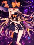 1girl abigail_williams_(fate/grand_order) ass_visible_through_thighs asymmetrical_legwear bangs black_bow black_hat black_legwear black_panties blonde_hair blush bow bug butterfly closed_mouth commentary_request eyebrows_visible_through_hair fate/grand_order fate_(series) fingernails glint hat hat_bow head_tilt heart highres holding holding_key insect key keyhole knees_together_feet_apart leaning_forward long_hair looking_at_viewer navel orange_bow orii_(fsgp5252) oversized_object panties parted_bangs print_bow red_eyes revealing_clothes single_thighhigh smile solo space star star_(sky) star_print stuffed_animal stuffed_toy teddy_bear thighhighs topless underwear very_long_hair witch_hat