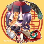 1girl :d bangs black_dress black_footwear black_headwear blush braid chibi china_dress chinese_clothes commentary_request dress eyebrows_visible_through_hair fang fate/grand_order fate_(series) fingernails full_body hair_rings hat horns jiangshi long_fingernails long_sleeves looking_at_viewer ofuda oni oni_horns open_mouth pelvic_curtain purple_eyes purple_hair red_nails shoes short_eyebrows shuten_douji_(fate/grand_order) sleeves_past_wrists smile solo standing thick_eyebrows twitter_username wide_sleeves yellow_background yukiyuki_441