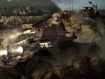 5girls arm_support assam black_legwear blonde_hair blue_skirt blue_sweater blurry blurry_background braid brown_eyes brown_hair bush closed_mouth commentary_request darjeeling depth_of_field dust_cloud emblem eyebrows_visible_through_hair ferret_scout_car girls_und_panzer ground_vehicle hair_pulled_back headlight headphones highres insignia jacket leaning_forward long_hair long_sleeves microphone military military_vehicle miniskirt motion_blur motor_vehicle mountain multiple_girls open_mouth pantyhose pleated_skirt r-ex red_jacket riding rukuriri school_uniform short_hair skirt smoke st._gloriana's_(emblem) st._gloriana's_military_uniform st._gloriana's_school_uniform sweater tank tied_hair town tree twilight vehicle_request video_camera wall