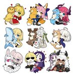 1boy 6+girls ahoge animal_costume animal_ears asterios_(fate/grand_order) black_pupils blonde_hair blue_eyes blush braid bug butterfly chibi closed_eyes closed_mouth commentary_request dark_skin dragon_tail elizabeth_bathory_(fate) elizabeth_bathory_(fate)_(all) euryale eyebrows_visible_through_hair fate/extra fate/extra_ccc fate/grand_order fate_(series) fou_(fate/grand_order) fox_ears fox_tail french_braid fujimaru_ritsuka_(male) glasses green_eyes hair_ornament hair_ribbon hairband heart heart-shaped_pupils horns insect jeanne_d'arc_(alter)_(fate) jeanne_d'arc_(fate)_(all) jeanne_d'arc_(swimsuit_archer) jeanne_d'arc_alter_santa_lily kou_mashiro long_hair looking_at_viewer mash_kyrielight minamoto_no_raikou_(fate/grand_order) multiple_girls nero_claudius_(fate) nero_claudius_(fate)_(all) object_hug one_eye_closed open_mouth pink_hair pointy_ears purple_eyes purple_hair red_eyes reindeer_costume ribbon sakata_kintoki_(fate/grand_order) short_hair simple_background single_braid smile stuffed_animal stuffed_cat stuffed_dolphin stuffed_dragon stuffed_fox stuffed_reindeer stuffed_toy sunglasses symbol-shaped_pupils tail tamamo_(fate)_(all) tamamo_no_mae_(fate) twintails white_background white_hair yellow_butterfly yellow_eyes
