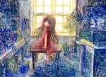 1girl :o acrylic_paint_(medium) black_hair blurry colored_pencil_(medium) dress flower green_eyes highres indoors long_hair looking_at_viewer looking_back natsume_no_kijiro original red_dress sitting solo sunlight table traditional_media watercolor_(medium) window