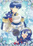 1boy 1girl armor blue_eyes blue_hair blush cape commentary fan fire_emblem fire_emblem:_monshou_no_nazo fire_emblem_heroes flower formal gloves hair_ornament headband highres kiriya_(552260) long_hair looking_at_viewer lucina marth short_hair smile suit tiara translated tuxedo