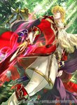 1boy black_cape blonde_hair boots cape coat collar collared_cape commentary_request cravat eltoshan_(fire_emblem) fire_emblem fire_emblem:_seisen_no_keifu fire_emblem_cipher forest from_below gloves holding holding_sword holding_weapon horse knee_boots lips looking_at_viewer male_focus medium_hair mystletainn nature official_art pants red_coat sheath sidelocks solo suzuki_rika sword turtleneck weapon white_footwear white_gloves white_pants yellow_eyes