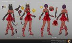 1girl alternate_costume animal_ears animal_hood back bare_shoulders bell bow bridal_gauntlets cammy_white capcom cat_ears cat_hood cat_tail character_sheet claws commentary concept_art dark_skin dress elbow_gloves full_body gloves green_eyes highres hood kelly_tan leg_ribbon looking_at_viewer menat multiple_views official_art paw_gloves paws purple_hair red_dress ribbon sandals standing street_fighter street_fighter_v tail watermark