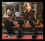3girls bag border brown_eyes brown_hair commentary_request denim eating food frills hat jacket jeans long_hair multiple_girls original pants pants_under_skirt paper_bag park photoshop rustle scarf sitting taiyaki thighhighs wagashi winter_clothes