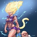 1boy 1girl abs aura bald beard blonde_hair breasts broken_eyewear character_request cleavage clenched_hands darren_geers dragon_ball dragon_ball_super earrings electricity facial_hair fang floating_hair glasses highres jewelry lips long_hair looking_at_viewer medium_breasts monkey_tail muscle muscular_female muten_roushi old_man red-framed_eyewear solo_focus spiked_hair super_saiyan tail torn_clothes torn_unitard unconscious unitard wristband