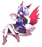 1girl ankle_boots bird_wings black_skirt blue_bow blue_hair blush boots bow brown_footwear closed_mouth frilled_skirt frills full_body gla hand_up head_wings highres horns invisible_chair knees_together_feet_apart long_sleeves looking_at_viewer multicolored_hair puffy_sleeves red_eyes red_wings ribbon-trimmed_sleeves ribbon_trim short_hair single_head_wing sitting skirt slit_pupils smile solo tokiko_(touhou) touhou transparent_background two-tone_hair white_hair wide_sleeves wing_collar wings