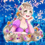 87025_runi absurdly_long_hair alternate_eye_color alternate_hairstyle birthday braided_ponytail castle commentary_request cosplay disney dress english_text flower green_eyes grey_hair lantern long_hair love_live! love_live!_school_idol_project minami_kotori rapunzel_(disney) rapunzel_(disney)_(cosplay) signature tangled upper_body very_long_hair