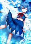 1girl adapted_costume bad_id bad_pixiv_id blue_eyes blue_hair blue_sky blue_theme cirno cloud hair_ribbon highres ice ice_wings looking_at_viewer navel neck_ribbon one_eye_closed ribbon sailor_collar short_hair skirt sky smile sofy solo touhou water wings