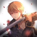 1boy artist_name black_jacket blonde_hair gintama highres holding holding_sword holding_weapon jacket katana la_campanella long_sleeves looking_at_viewer male_focus okita_sougo open_clothes open_jacket parted_lips red_eyes solo sword weapon white_neckwear
