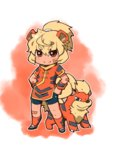 1girl ahoge animal_ears bandaid bandaid_on_face bandaid_on_knee bangs bike_shorts blonde_hair blush brown_eyes dog_ears dog_tail dress eyebrows_visible_through_hair fang fang_out fukurou_(owl222) gen_1_pokemon growlithe hair_between_eyes highres legs_apart looking_at_viewer orange_dress orange_legwear pelvic_curtain personification pokemon pokemon_(creature) ponytail red_background red_eyes short_hair smile socks solo standing tail wristband
