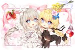 2girls bangs bare_shoulders black_bow black_dress black_footwear black_gloves black_legwear blonde_hair blue_eyes blue_flower bow chibi commentary dress english_commentary eyebrows_visible_through_hair fate_(series) flower food fruit gloves grey_hair hair_between_eyes hair_bow hair_flower hair_ornament heart highres jeanne_d'arc_(fate) jeanne_d'arc_(fate)_(all) low_twintails marie_antoinette_(fate/grand_order) multiple_girls pink_flower purple_flower see-through shoes sleeveless sleeveless_dress standing strawberry strawberry_blossoms taya_5323203 thighhighs twintails white_bow white_dress white_footwear white_gloves yellow_flower