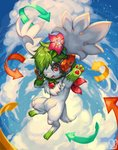 :d absurdres blue_sky cloud cloudy_sky commentary commission creature day directional_arrow english_commentary flower flying full_body green_hair hair_flower hair_ornament headphones highres no_humans open_mouth outdoors pokemon pokemon_(creature) red_eyes sa-dui shaymin short_hair signature sky smile star_(sky) starry_sky