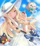 1girl ;) >_o air_bubble bangs bare_shoulders blonde_hair blue_ribbon blue_sky braid breasts bubble closed_mouth collared_dress commentary cowboy_shot day dress eyebrows_visible_through_hair fhilippedu flower green_eyes hat hat_flower hat_ribbon holding holding_hat holding_poke_ball lillie_(pokemon) litten long_hair looking_at_viewer one_eye_closed outdoors poke_ball pokemon pokemon_(creature) pokemon_(game) pokemon_sm popplio ribbon rowlet sky sleeveless sleeveless_dress small_breasts smile sun sun_hat sundress twin_braids white_dress white_hat