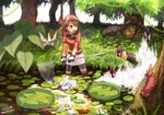 1boy 1girl bandana bangs bike_shorts brown_eyes brown_hair falling fanny_pack gen_3_pokemon gloves grass hair_between_eyes haruka_(pokemon) holding leaf lily_pad long_hair masquerain miniskirt multicolored multicolored_clothes multicolored_gloves nature net open_mouth outdoors partially_submerged plant pokemon pokemon_(creature) pokemon_(game) pokemon_rse red_shirt shirt short_sleeves shorts shorts_under_skirt skirt splashing surskit tanbo-san teeth torchic tree wading water white_skirt wurmple yuuki_(pokemon)