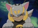 1boy :3 animal_ears animated animated_gif anime_coloring antennae blonde_hair cat_ears cat_paws commentary english_commentary fake_screenshot heart helmet male_focus md5_mismatch netnavi one_eye_closed original paws rinji_(bonus-level) rockman rockman_exe smile v whiskers winking_(animated) yellow_eyes