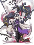 1girl ahoge alternate_color banner bare_shoulders black_armor chain crossover dress eyebrows eyebrows_visible_through_hair fate/grand_order fate_(series) faulds flag full_body gauntlets gen_3_pokemon greaves headpiece holding holding_poke_ball jeanne_d'arc_(alter)_(fate) jeanne_d'arc_(fate)_(all) legendary_pokemon long_hair mirui poke_ball poke_ball_(generic) pokemon pokemon_(creature) purple_dress rayquaza shiny_pokemon silver_hair smile v-shaped_eyebrows very_long_hair white_background white_hair yellow_eyes