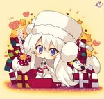 1girl :< >_< azur_lane bangs beige_background blush box cape character_request chibi dress earmuffs enterprise_(azur_lane) eyebrows_visible_through_hair fur-trimmed_cape fur-trimmed_hat fur-trimmed_sleeves fur_trim gift gift_box hair_between_eyes hat heart long_hair long_sleeves looking_at_viewer muuran parted_lips purple_eyes red_hat sack santa_hat signature snowman solo star triangle_mouth very_long_hair white_cape white_dress white_hair white_hat