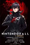 1boy absurdres amamiya_ren azto_dio black_hair gloves highres james_bond_(series) looking_at_viewer male_focus mask movie_poster parody persona persona_5 red_eyes red_gloves short_hair simple_background skyfall smile solo super_smash_bros.