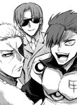 3boys fate_(series) formal greyscale hair_over_one_eye koha-ace li_shuwen_(fate/koha-ace) looking_at_viewer looking_back male_focus maxwell's_demon_(fate) monochrome mori_nagayoshi_(fate) multiple_boys open_mouth piroya_(shabushabu) smile spiked_hair suit sunglasses upper_body wrinkles