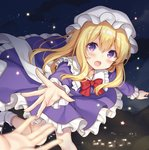 1girl :o blonde_hair blurry blurry_foreground blush bow bowtie commentary_request depth_of_field dress eyebrows_visible_through_hair frilled_shirt_collar frilled_sleeves frills hat leg_up long_hair looking_at_viewer maribel_hearn mob_cap nagisa3710 night night_sky open_mouth out_of_frame outstretched_arm purple_dress purple_eyes reaching red_bow red_neckwear sky socks solo_focus star star_(sky) starry_sky touhou white_legwear