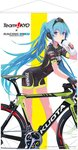 1girl ad artist_request bicycle_chain bikesuit black_gloves blue_eyes blue_hair bottle drinking fingerless_gloves gloves hatsune_miku helmet highres leaning_forward long_hair looking_at_viewer road_bicycle short_sleeves solo spokes standing very_long_hair vocaloid water_bottle