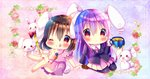 2girls ;q animal_ears arm_up barefoot blue_background blush brown_footwear brown_hair bunny bunny_ears bunny_tail carrot_necklace chibi chocolat_(momoiro_piano) cup dress flower gradient gradient_background hair_between_eyes hands_together holding holding_cup inaba_tewi lace_background lavender_hair leaning_back leg_lift long_hair multiple_girls navy_blue_legwear necktie one_eye_closed pantyhose pearl pink_background pink_dress pink_flower pink_neckwear pink_rose red_eyes red_flower red_rose reisen_udongein_inaba rose shirt short_hair sitting suit_jacket tail tongue tongue_out touhou very_long_hair wand wariza white_shirt wing_collar