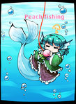 1girl =_= ? aqua_hair bubble chibi commentary_request fishing_line food fruit full_body head_fins kashuu_(b-q) mermaid monster_girl peach solo touhou underwater wakasagihime