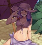 1girl bikini blue_bow blush bow breasts collarbone cowboy_shot crescent crescent_moon_pin fanning front-tie_bikini front-tie_top hair_bow hat hat_pin hot leaf long_hair medium_breasts navel open_mouth outdoors patchouli_knowledge plant purple_bikini purple_eyes purple_hair purple_hat red_bow shade sitting solo splayter sweat swimsuit touhou umbrella