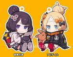 2girls abigail_williams_(fate/grand_order) alphy animal bangs black_bow black_footwear black_jacket black_shorts blonde_hair blue_eyes blush_stickers bow character_name chibi closed_mouth commentary_request covered_mouth crossed_bandaids eyebrows_visible_through_hair fate/grand_order fate_(series) grey_hoodie hair_bow hair_bun heroic_spirit_traveling_outfit hood hood_down hoodie jacket katsushika_hokusai_(fate/grand_order) key long_hair long_sleeves looking_at_viewer multiple_girls object_hug octopus orange_background orange_bow outline parted_bangs polka_dot polka_dot_bow purple_eyes purple_hair red_footwear sample shoe_soles shoes shorts sitting sleeves_past_fingers sleeves_past_wrists smile star stuffed_animal stuffed_toy teddy_bear tokitarou_(fate/grand_order) white_outline