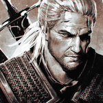1boy armor chainmail chromatic_aberration face facial_hair geralt_of_rivia ilya_kuvshinov male_focus monochrome ponytail scar solo stubble sword the_witcher the_witcher_3 upper_body weapon