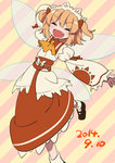 1girl blonde_hair bow chabi_(amedama) dated dress hair_bow open_mouth ribbon short_hair smile solo sunny_milk touhou twintails wings