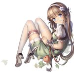 1girl absurdres apple belt bkyuuc blue_eyes blush breasts brown_belt character_request copyright_request dress eyebrows_visible_through_hair flower food fruit full_body green_dress hair_flower hair_ornament hairband highres leaf long_hair looking_at_viewer medium_breasts puffy_short_sleeves puffy_sleeves shoes short_sleeves simple_background teeth thighhighs twintails white_background white_legwear wrist_cuffs