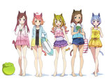 5girls absurdres ahoge animal_ears bag bangs bare_legs barefoot bikini bikini_under_clothes blue_eyes blue_hair bow breasts brown_eyes brown_hair cat_ears frilled_skirt frills full_body gradient_hair hair_bow hand_on_own_chest handbag highres hood hooded_jacket innertube jacket kanzaki_hiro long_hair multicolored_hair multiple_girls original purple_eyes scan school_swimsuit short_hair shorts simple_background skirt small_breasts swept_bangs swimsuit white_background