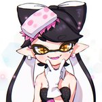 +_+ 1girl aori_(splatoon) black_hair black_jumpsuit blush brown_eyes busujima_funya commentary detached_collar domino_mask dress earrings eyebrows_visible_through_hair fangs food food_on_head gloves jewelry light_particles long_hair looking_at_viewer mask mole mole_under_eye object_on_head open_mouth pointy_ears purple_tongue simple_background smile solo splatoon_(series) splatoon_1 strapless strapless_dress tentacle_hair upper_body v white_background white_gloves
