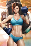 1girl abs bangs blue_eyes boxing_gloves breasts brown_hair buruma cleavage cowboy_shot gym hand_on_hip hand_up highres indoors laces large_breasts lens_flare light_smile lips long_hair looking_at_viewer medium_breasts midriff mouth_hold navel original ponytail punching_bag revision shirt short_shorts shorts solo sports_bra sportswear stanley_lau swept_bangs taut_clothes taut_shirt toned wrist_wraps